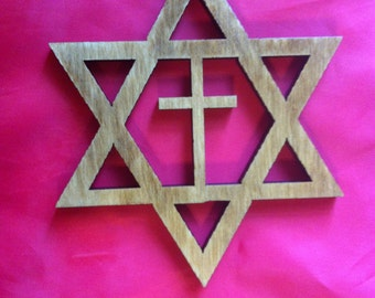 Wood Star of David with Christian Cross Ornament