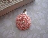 Petite Satin Rose . snap clip . toddler hair accessory . pale peach