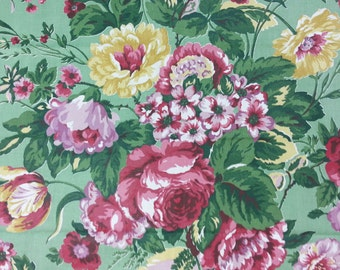 Vintage Fabric 1960's - Pink & Lavender Roses on Green Cottage Style  - Yardage