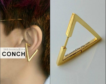 Gauge Conch Piercing Mens Earring Triangle - Gold Plated over 925 Silver hoop - Etsy Conch Helix Cartilage earring 12G 14G 16G 18G E235SY