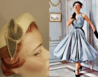 A Most Glamourous Life - Vintage 1950 French Room Ivory Felt & Beaded Juliette Hat w/Birdcage Veil