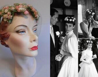 Audrey Has a Wedding - Vintage 1950s LaRose Rose Pink & Green Velvet Rosebuds Leaf Open Crown Hat Fascinator w/Veil