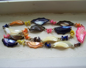 CLEARANCE Multicolored Dyed Mother of Pearl Necklace