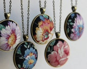 Vintage Floral Fabric Necklace, Unique Jewelry for Women, Black, Purple, Blue Yellow, Pink Rose, Boho Bridesmaid Pendant, Bohemian Wedding