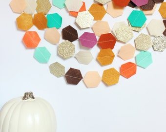 autumn garland (felt and glitter hexagons)-3 color options