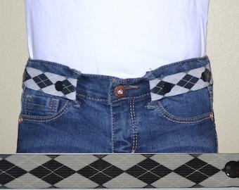 Argyle Elastic Snap Belt-Kids and Adults-Adjustable Waist Cincher Clip-Toddler Belt-Kids Belt-Adult Belt-Elu Clips - blue orange yellow gray