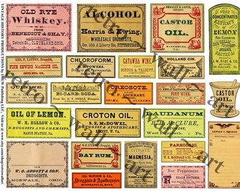 Pharmacy Labels, Antique Apothecary, Clip Art Paper, Vintage Inspired, Druggist Stickers, Mixed Media Clip Art, DIY, Old Bottle Labels, 371