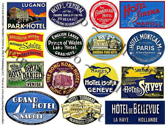Digital Clip Art Vintage Travel Labels Luggage Labels