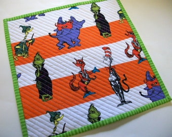 Halloween Grinch Mug Rug Snack Mat Dr. Seuss and Friends Quiltsy Handmade Quilted Reversible FREE U.S. Shipping