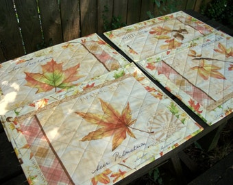 Fall Placemats Quilted Autumn Reversible Set of 4 Quiltsy Handmade FREE U.S. Shipping