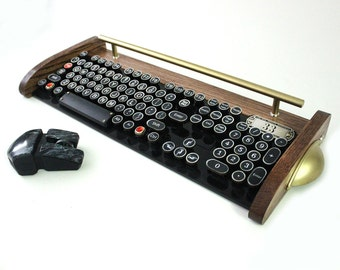 Keyboard Mouse Wireless Combo - NEW EX Model - Antique looking Victorian Retro Styling - Steampunk - Typewriter- Heavy Duty metal base