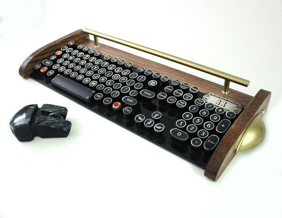 Keyboard Mouse Wireless Combo - NEW EX Model - Antique looking Victorian Retro Styling - Steampunk - Typewriter- Heavy Duty metal base