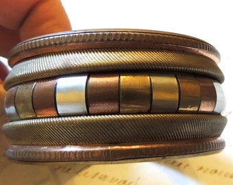 Boho Bracelet Copper & Brass Chunky Wide Bangle Vintage Jewelry