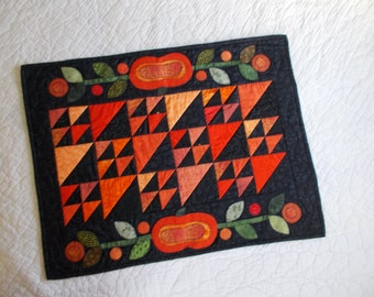 Pumpkins And Harvest Moon Quilted Table Runner/Applique