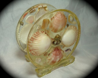 1970s Shell and Resin Napkin Holder.