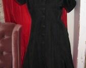 Vintage 1950 Black Dress womens size small