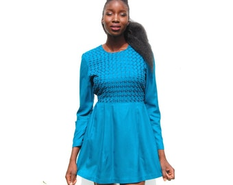 Teal long sleeve mini dress with floral embroidery and pearls 1990s 90s VINTAGE