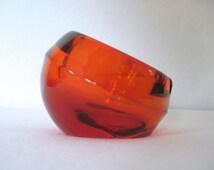 vintage 1960s ART GLASS ashtray - VIKING Glass, Persimmon, Orb, bowl, mcm decor, sphere, round, catchall - Mid Century Modern