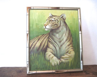 roar, vintage 1960s TIGER Oil Painting - amateur art, green + gold + brown, big cat, wild cat - faux bamboo frame - hand signed by artist
