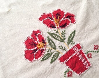 flower pots, vintage white linen tablecloth w appliquéd poppy flowers and red + forest green cross stitching - 32 x 43 inch oblong