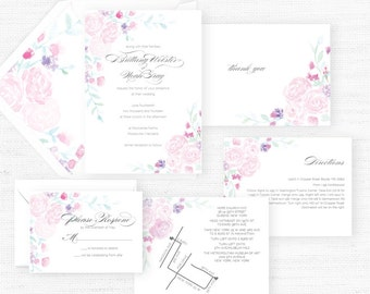 The Olivia Collection | Sample Wedding Invitation | Hand-Painted Watercolor Wedding Invitations