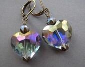 Glass Heart Earrings - Antique Style Jewelry - Victorian Earrings - Romantic Jewelry - Victorian Jewelry - Heart Jewelry - Vitrail Earrings