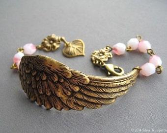 Angel Wing Bracelet - Angel Wing Jewelry - Valentine Jewelry - Guardian Angel Bracelet - Pink Bracelet - Angel Jewelry - Victorian Jewelry