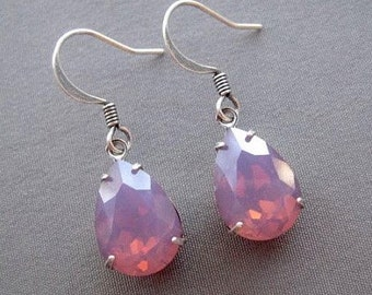 Purple Earrings - Rhinestone Earrings - Crystal Earrings - Purple Jewelry - Drop Earrings - Teardrop Earrings - Gifts for Her - Soft Purple