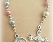 Saint Gerard and Our Lady Perpetual Help Catholic Rosary Chaplet - Patron Saint of Motherhood and Safe Pregnancy - Swarovski Pearl & Crystal