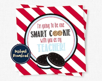 Teacher Tag, One Smart Cookie Tag, Back to School Teacher Tag, Teacher Printable INSTANT DOWNLOAD