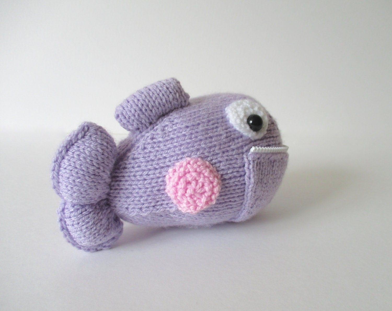 Piranha toy fish knitting pattern by fluffandfuzz on Etsy