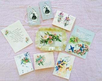 Lot vintage greeting cards paper fan floral design roses