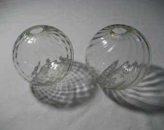 pair of vintage clear glass lightning rod balls