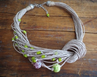 Linen Necklace, Ceramic Beads, Bone Beads, Natural Jewelry, Boho Style