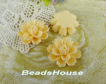 710-00-CA   4pcs ( 18mm x 27mm) Beautiful  Chrysanthemum Resin Flower Cabochons-Ivory