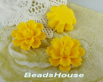 710-00-CA   4pcs ( 18mm x 27mm) Beautiful  Chrysanthemum Resin Flower Cabochons-Yellow