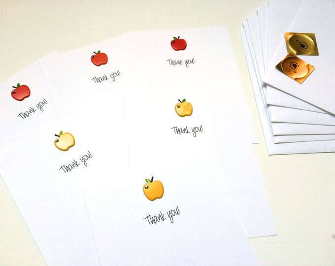 Set of 6 Flat Red and Yellow Apple Thank You Teacher Card Set, made on recycled paper, comes with envelope and seal
