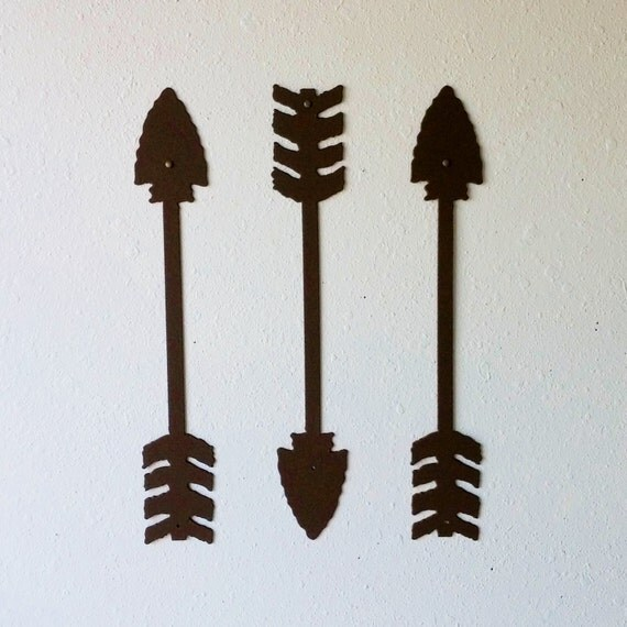 Rustic Arrows / Metal Art / Wall Decor / Set of Three / Textured Brown / Home Decor / Arrow head / Native American / Several sizes