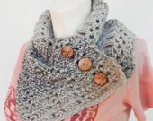 Gray Crochet Scarf with Coconut buttons Neck Warmer brown soft yarn Cowl Wrap ready to ship