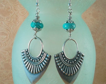 Gypsy Earrings - Aqua Howlite Turquoise with Silver Plated Tribal Dangles