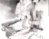Original Watercolour Painting. Watercolor Fashion. Titled: Swan Lake