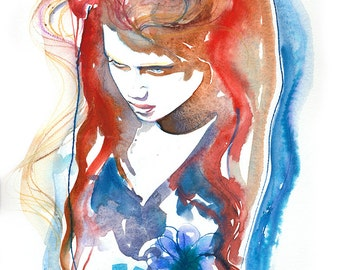 Fashion Illustration, Fashion Print, Fashion Watercolor, Watercolor Fashion Illustration,  Fashion Poster, Fashion Wall Art, Cate Parr, edgy