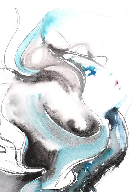 Original watercolour painting fashion illustration fashion wall art