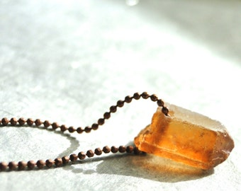Gemstone Necklace / Quartz Necklace / Copper Chain / Autumn Accessories / Gift for Her / Layering Necklace / Jewelry