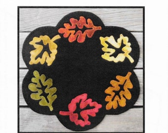 Wool Applique Pattern, Wool Applique, Fall Foliage, Wool Candle Mat, Doily, Primitive Decor, Fall Decor, Autumn Centerpiece, PATTERN ONLY