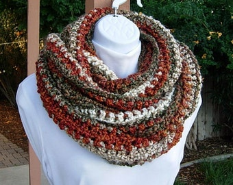 READY TO SHIP Extra Large Infinity Scarf, Oversized Loop Cowl Burnt Orange Rust Olive Green Cream Beige Striped Bulky Wide Long Soft Crochet