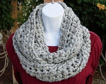 Infinity Scarf Cowl Loop, Light Grey Gray w/ Black & Tan, Soft Tweed Wool Blend, Crochet Knit Winter, Neck Warmer, Ready to Ship in 2 Days
