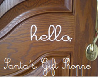 hello. - Vinyl Decal - Front Door Decal - hello sticker- hello vinyl decal - hello. front door - hello sticker - Curb Appeal - Home Decor