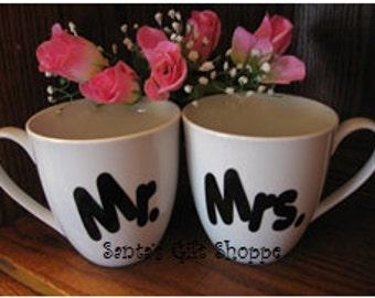 Vinyl Decals (3 sets) - Mr. & Mrs - Kitchen Decor - Wedding Gift - Custom