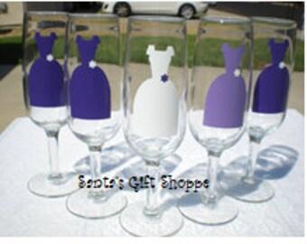 Bride/Maid of Honor/Bridesmaids vinyl dresses decals - 5 Vinyl Decals - GLASSES NOT INCLUDED - Wedding Gown - Bridemaids